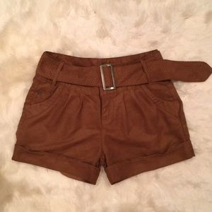 Pants - BROWN SUEDE SHORTS FROM SPAIN